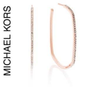 NWT authentic MK rose gold tone pave square hoop